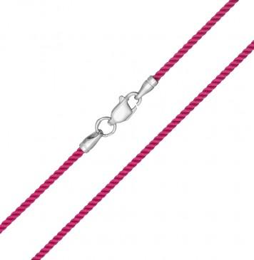 Крученый шелк Малиновый 2.0 мм с серебряной застежкой0 6404