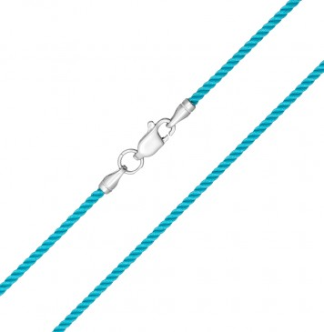 Крученый шелк Бирюзовый 2.0 мм с серебряной застежкой 6407