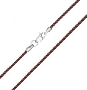 Крученый шелк Коричневый 2.0 мм с серебряной застежкой 6409