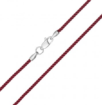 Крученый шелк Бордовый 2.0 мм с серебряной застежкой 6412
