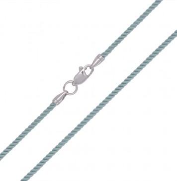 Крученый шелк Мятный 2.0 мм с серебряной застежкой 6418