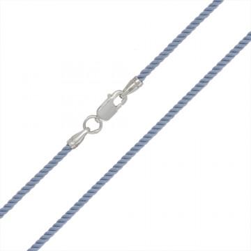Крученый шелк Голубой 2.0 мм с серебряной застежкой 6422