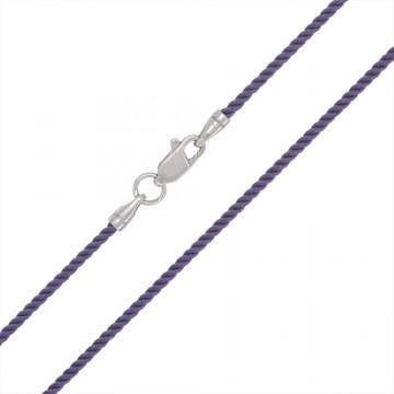 Крученый шелк Сиренивый 2.0 мм с серебряной застежкой 6428