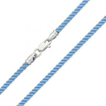 Крученый шелк Голубой 3.0 мм с серебряной застежкой 6467