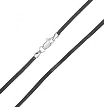 Гладкая кожа Черная 2.5 мм с серебряной застежкой 6503-4