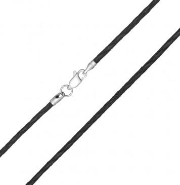Плетеная кожа Черная 2.0 мм с серебряной застежкой 6504-4
