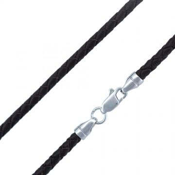 Плетеная кожа Коричневая 3.0 мм с серебряной застежкой 6533-K