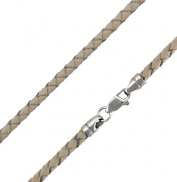 Плетеная кожа Бежевая 3.0 мм с серебряной застежкой 6542