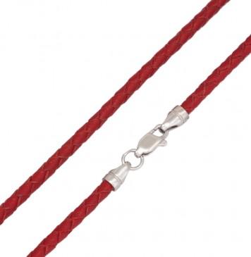 Плетеная кожа Красная 3.0 мм с серебряной застежкой 6545