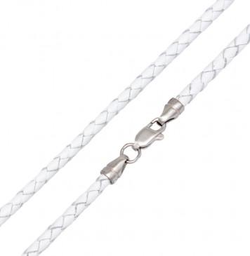 Плетеная кожа Белая 3.0 мм с серебряной застежкой 6546