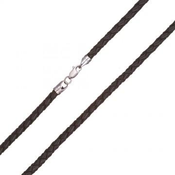 Плетеная кожа Черная 4.0 мм с серебряной застежкой 6550-4