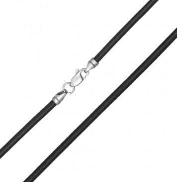 Гладкая кожа Черная 3.0 мм с серебряной застежкой 6552-4