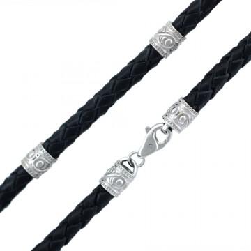 Черная | Плетеная кожа 5.0 мм | с серебряными родированными вставками и замком 6553