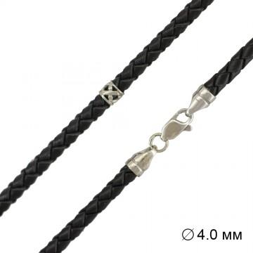 Плетеная кожа | Черная 4.0 мм | с серебряной застежкой и вставками 6556-4