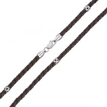 Плетеная кожа Черно-Коричневая 4.0 мм с серебряной застежкой и вставками 6556-4k