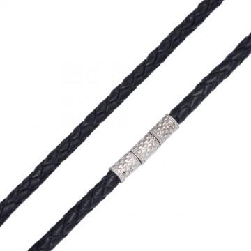 Плетеная кожа Черная 4.0 мм с серебряным замком-Закрутка 6561-4