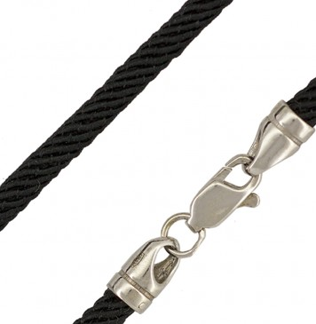 Черный | Крученый шелк 4.0 мм | с серебряной застежкой 6701-4