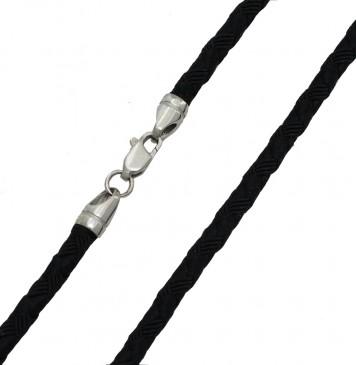 Плетеный шелк Черный 4.0 мм с серебряной застежкой 6703-4