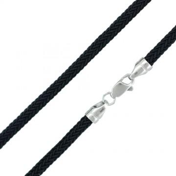 Черный | Плетеный шелк 4.0 мм | с серебряной застежкой 6714-4
