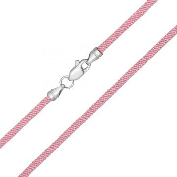 Крученый шелк Розовый 3.0 мм с серебряной застежкой 6715