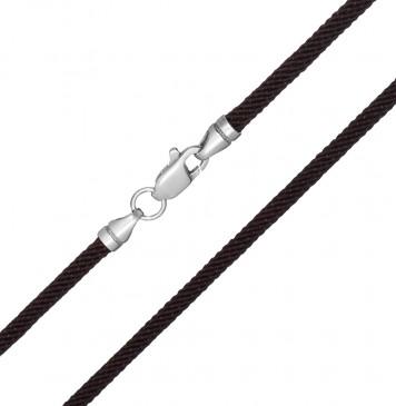 Крученый шелк Коричневый 3.0 мм с серебряной застежкой 6716