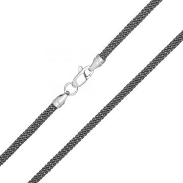 Крученый шелк Серый 3.0 мм с серебряной застежкой 6717
