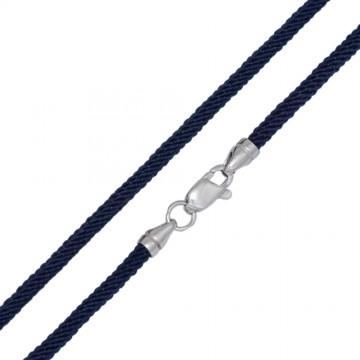 Крученый шелк Синий 3.0 мм с серебряной застежкой 6718