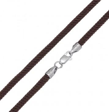 Коричневый | Плетеный шелк 4.0 мм | с серебряной застежкой 6720