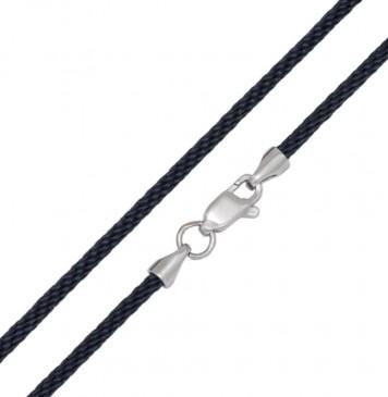 Плетеный шелк Черный 2.5 мм с серебряной застежкой 6780