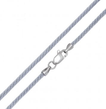 Плетеный шелк Серебро 2.5 мм с серебряной застежкой 6781
