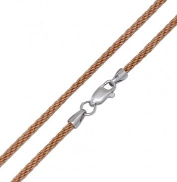 Плетеный шелк Золото 2.5 мм с серебряной застежкой 6782