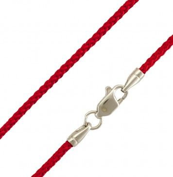 Плетеный шелк Красный 2.0 мм с серебряной застежкой 6809