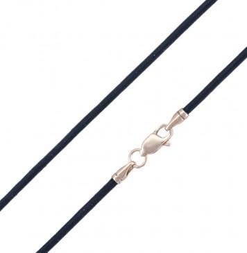 Гладкая кожа | Черная 2.0 мм с серебряной позолоченной застежкой pk6501-4