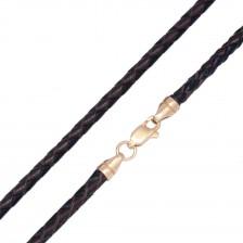 Плетеная кожа Черно-Коричневая 3.0 мм с серебряной позолоченной застежкой pk6531-4k