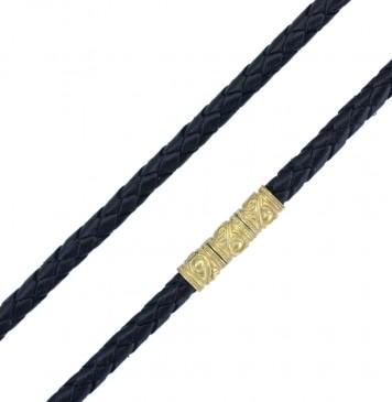Плетеная кожа Черная 5.0 мм | С Позолоченным серебряным замком-Закрутка pz6561-4