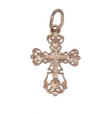 Золотой крестик с Распятием Христа и камушками z32123-K