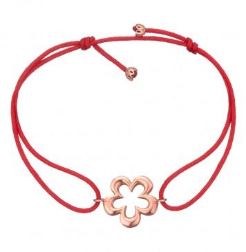 Безразмерный красный браслет с золотой вставкой Цветок z4084-K