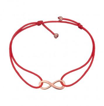 Безразмерный красный браслет с золотой вставкой Бесконечность z4086-K
