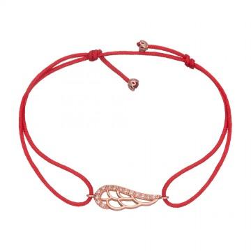 Безразмерный красный браслет с золотой вставкой Крыло Ангела с камнями z4089-K