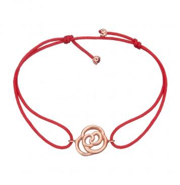 Безразмерный красный браслет с золотой вставкой Цветок Роза z4090-K