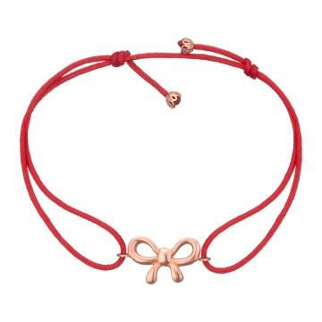 Безразмерный красный браслет с золотой вставкой Бантик z4091-K