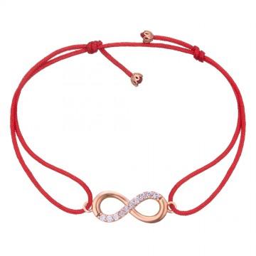 Безразмерный красный браслет с золотой вставкой Бесконечность с камнями z4093-K