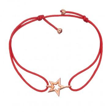Безразмерный красный браслет с золотой вставкой Звезда z4096-K