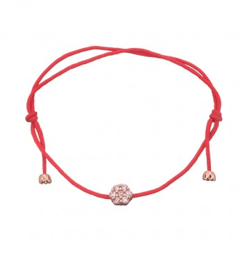 Безразмерный красный браслет с золотой вставкой Цветок с камнями z4098-K
