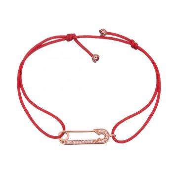 Безразмерный красный браслет | C Золотой вставкой Булавка | С камнями z4137-K