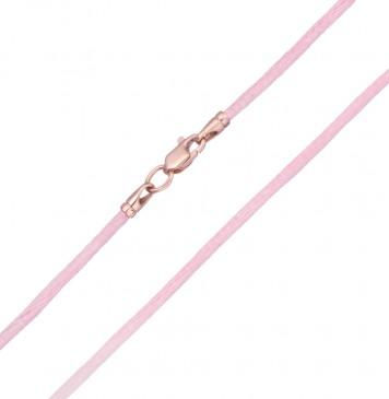 Гладкий шелк Розовый 2.0 мм с золотой застежкой z6104-K