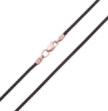 Крученый шелк Черный 2.0 мм с золотой застежкой z6401-K