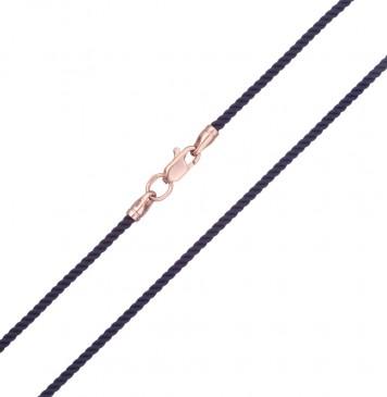 Крученый шелк Синий 2.0 мм с золотой застежкой z6402-K