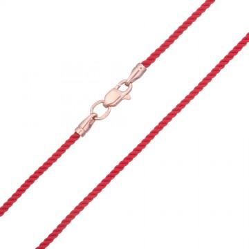 Крученый шелк Красный 2.0 мм с золотой застежкой z6405-K