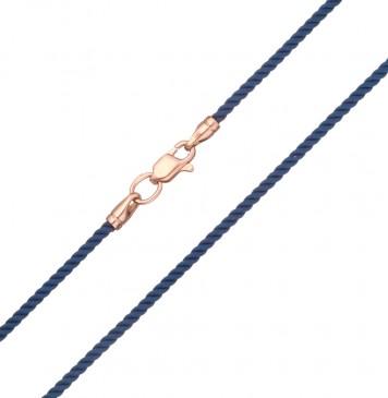 Крученый шелк Синий 2.0 мм с золотой застежкой z6426-K